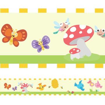 Faixa Para Quarto de Bebê - Pássaros e Borboletas