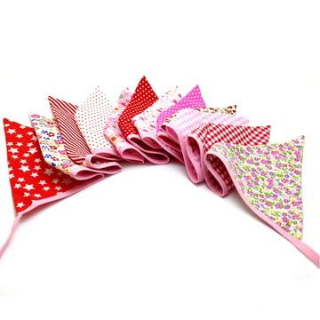Bandeirinha em Tecido em tons Rosa