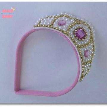 Tiara Coroa Rosa Princesa