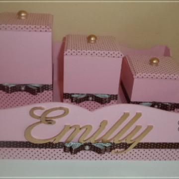 Kit higiene rosa com poá marrom
