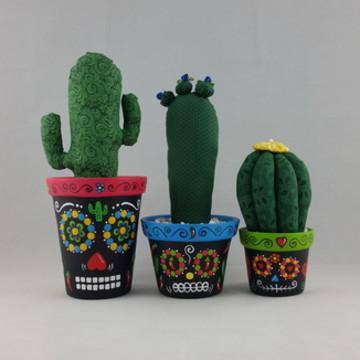 Trio de Vasos Caveira Mexic c/ Cacto IV