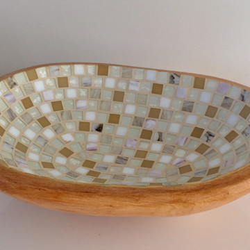 Gamela oval grande com mosaico de vidro