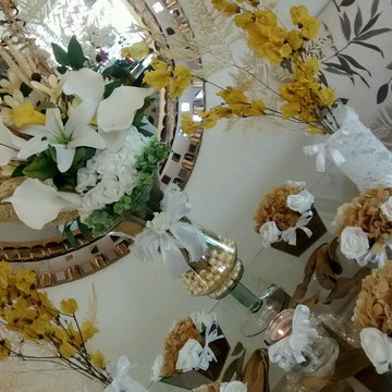 kit festa rendas champagne & amarelo