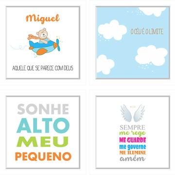 4 quadros quarto infantil personalizados