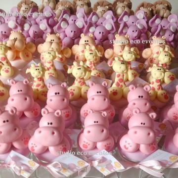 Pote safari rosa luxo - vidro com biscuit para festas
