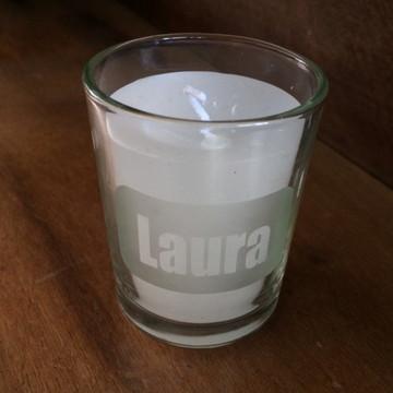 Copo personalizado com vela,vela no copo