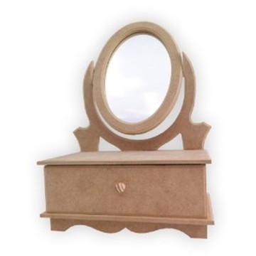 Comoda C Espelho Porta Bijuteria Mdf Cru