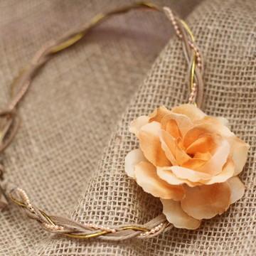 Headband Flor solitária Salmão