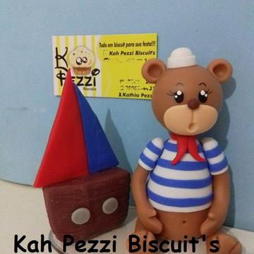 topo de bolo urso marinheiro de biscuit