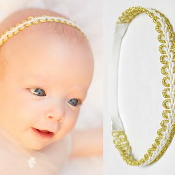 Faixa BABY branco/dourada