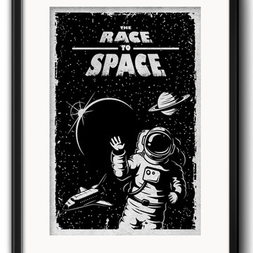 Quadro Astronauta Preto Branco com Paspatur
