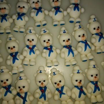 Lembrança em biscuit imã urso marinheiro