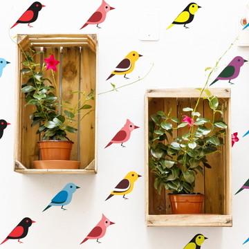 Mini Adesivo Pássaros Coloridos (Kit)