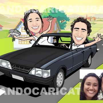 Caricatura Casamento cenário e veículo