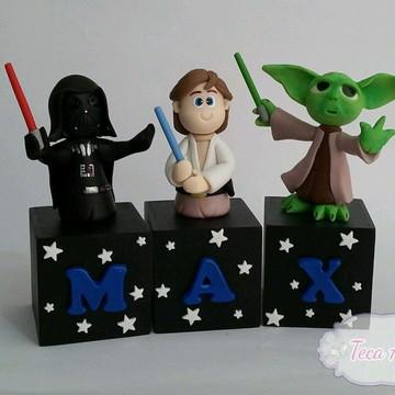 Cubos Star Wars Preto letra+personagem