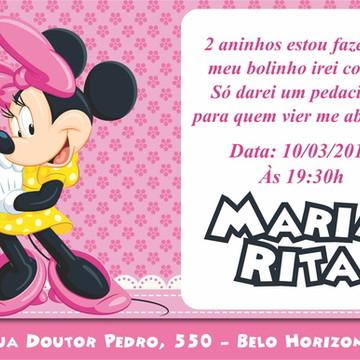 Arte Digital Convite Minnie