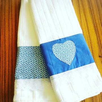 Jogo de Toalha para lavabo coração azul