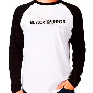 cbe07cb23f Camiseta Black Mirror Raglan Manga Longa