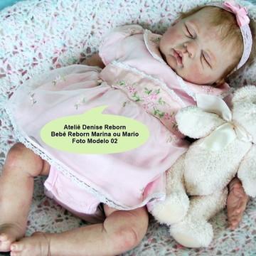 Boneca Bebê Reborn Marina ou Mario parace um bebe de verdade