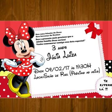 Convite Minnie Vermelha 7x10 personaliza