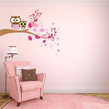 adesivo corujinhas rosa