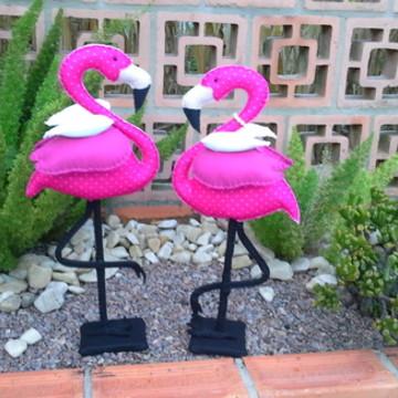 Casal de Flamingos pink bolinha