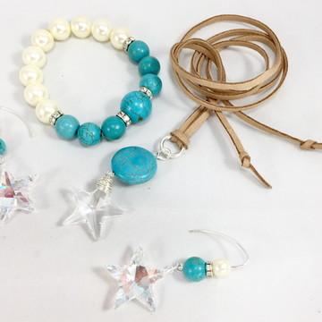 Conjunto Estrela em Cristal Swarovski e Howlita