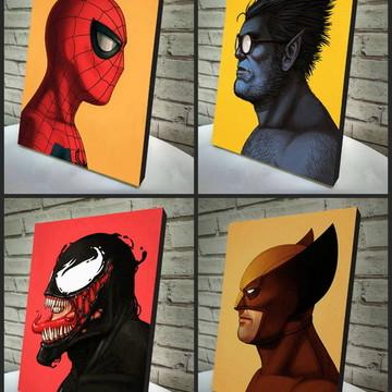 Combo Poster /Quadro Marvel 4 Peças
