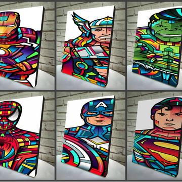 Combo Poster /Quadro Marvel 6 Peças