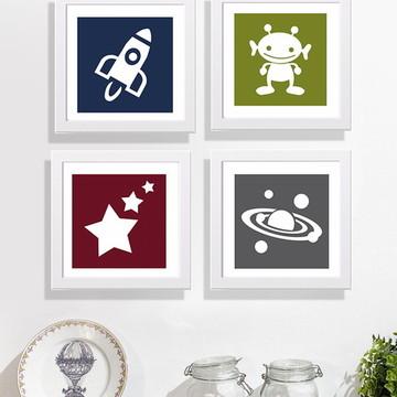 Kit 4 quadros infantis tema Espaço