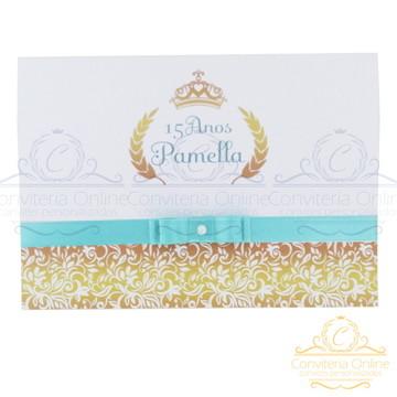 Convite 15 Anos - Azul Tiffany - Coroa