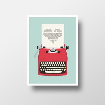 Pôster c/ moldura - Máquina de Escrever