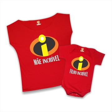 Kit Camisetas Mãe Incrível e Filho Incrível - Dia das Mães