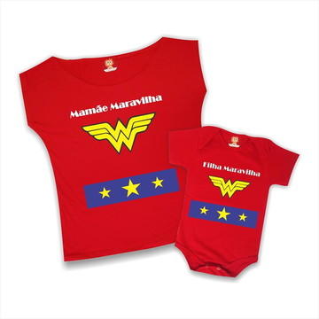 Kit Camisetas Mãe e Filha Maravilha