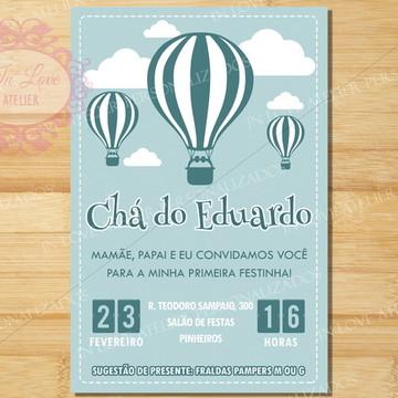 Convite Digital Chá de Fraldas Balão