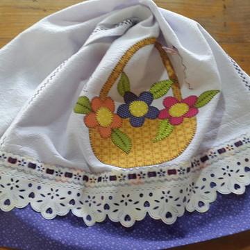 Pano de prato cesta de flores! !
