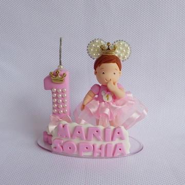 Topo de bolo minnie rosa princesa