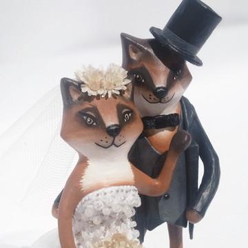 Topo de Bolo Sr. e Sra. Raposo