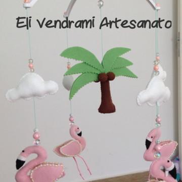 Móbile Musical Flamingo Tropical