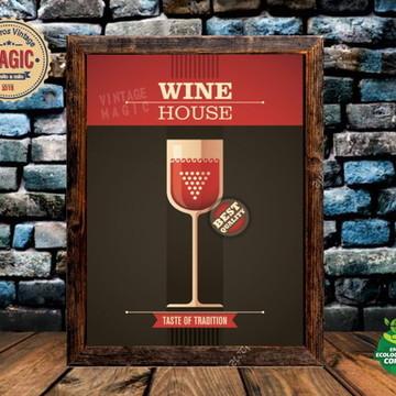 Quadro Rústico Vinho Vintage