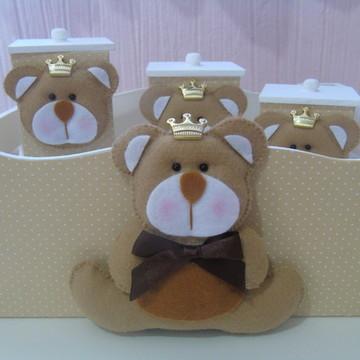 Kit Higiene Urso Bege & Marrom