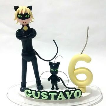 Topo de bolo Cat noir e Plagg