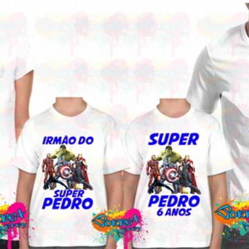 Camisa Personalizada Vingadores Kit 4Pçs