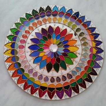 Mandala Mil Cores em espelho de 50cm