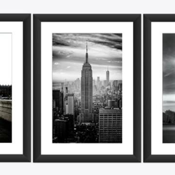 3 Quadros Nova York Londre Paris Cidade Torre Eiffel 47x62