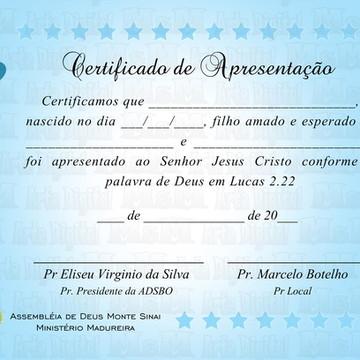 Arte Certificado Apresentação Igreja