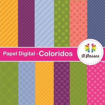 Kit 12 Papel Digital- Coloridos