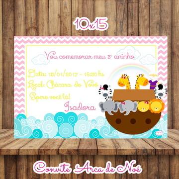Convite 10x15 Tema Arca de Noé.