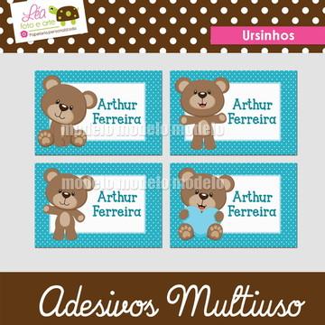 Adesivos material escolar - Ursinhos