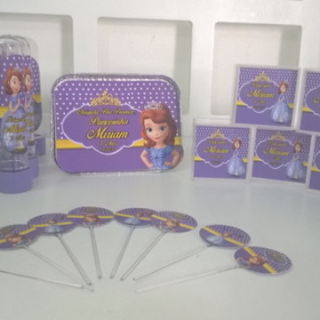 kit Princesa sofia 60 itens+50 topper